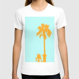 Orange palm trees silhouettes on blue T-shirt