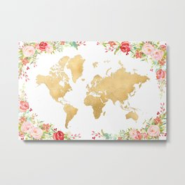 Floral and gold world map without labels Metal Print