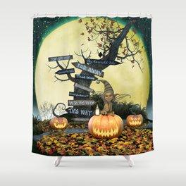 Pumpkin Gremlin Shower Curtain