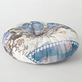 Vintage Blue Birds Floor Pillow