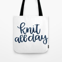 Knit All Day - Navy Tote Bag