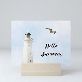 Lighthouse hello summer blue sky sea eagle  Mini Art Print