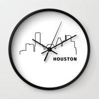 houston Wall Clocks featuring Houston by Fabian Bross