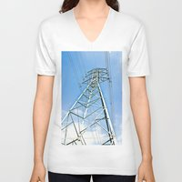 the wire V-neck T-shirts featuring High Wire by Kim Ramage