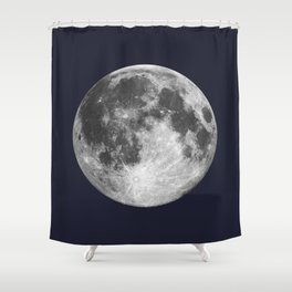 Full Moon on Navy Minimal Design Shower Curtain