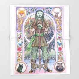The Green Knight Throw Blanket