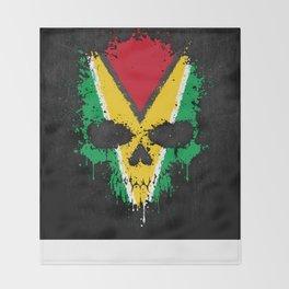 Flag of Guyana on a Chaotic Splatter Skull Throw Blanket
