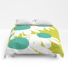 Flowers on Green by Friztin Comforters