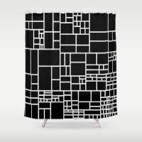 phil jones Shower Curtains featuring BW Pattern PHIL by MehrFarbeimLeben