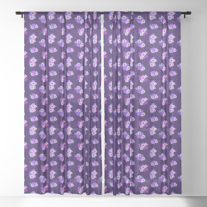 Floral Burst \\ Purples Sheer Curtain