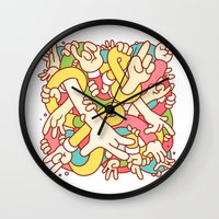 study Wall Clocks featuring Hand Study by Burnt Toast Creative