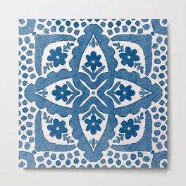 Indigo Blue Folk Art Dutch Delft Metal Print