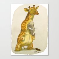 bouletcorp Canvas Prints featuring Elephant in a giraffe costume by Bouletcorp