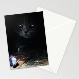 Cat looking at a blue butterfly by GEN Z Stationery Cards