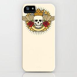 skull symbol tattoo design (crown, laurel wreath, wings, roses and banner) iPhone Case