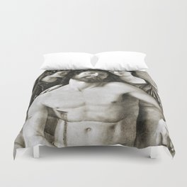 Dead Christ Between Two Angels by Giovanni Bellini Duvet Cover