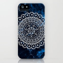 Moroccan Mandala on blue ink iPhone Case
