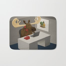 Maurice, the moose who wanted to work in an office Bath Mat