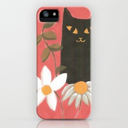 Happy Black Cat With Flowers iPhone Case