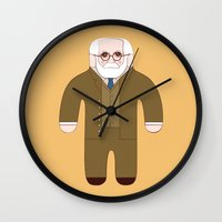 freud Wall Clocks featuring Sigmund Freud by Late Greats by Chen Reichert