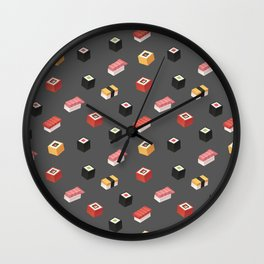 Isometric Sushi Pattern Wall Clock