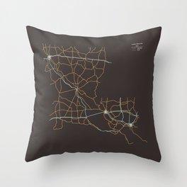 Louisiana Highways Throw Pillow
