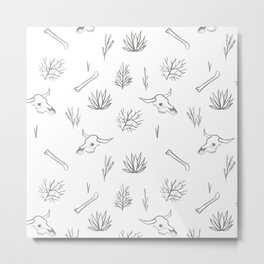 Desert Bones and Plants Pattern Metal Print