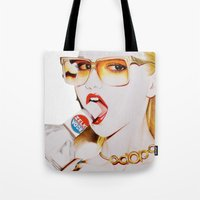 vodka Tote Bags featuring Feisty Vodka Girl by Liz Slome