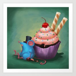 Mr. Bluemouse and a Cupcake Art Print