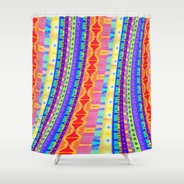 River of Friendship Modern African Textile Stripes Print Shower Curtain
