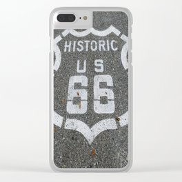Route 66 sign on the road Clear iPhone Case