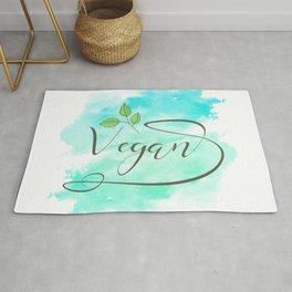 Watercolour Vegan lettering Rug