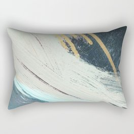 Karma: a bold abstract in blues and gold Rectangular Pillow