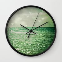 teal Wall Clocks featuring Sea of Happiness by Olivia Joy StClaire