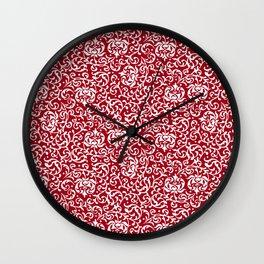 Christmas Red Tudor Damask Wall Clock