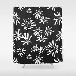 White Flowers On The Black Shower Curtain