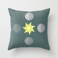 moon phases Throw Pillows featuring Phases by Shelby Thompson