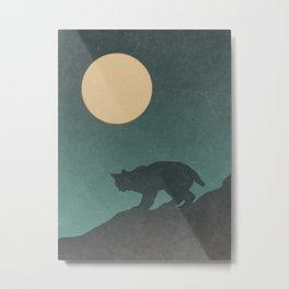 Bobcat Night Desert Landscape Metal Print