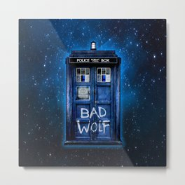 Phone box doctor with Bad wolf graffiti Metal Print
