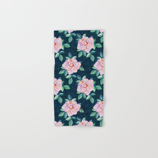 Simple Pink Rose Oil Painting Pattern Hand & Bath Towel