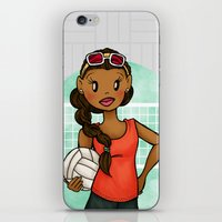 volleyball iPhone & iPod Skins featuring Volleyball Girl by Lunar Fox