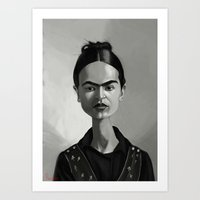 frida kahlo Art Prints featuring Frida Kahlo by Kostas Roussos