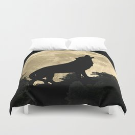 Wolf Howling at the Full Moon A303 Duvet Cover