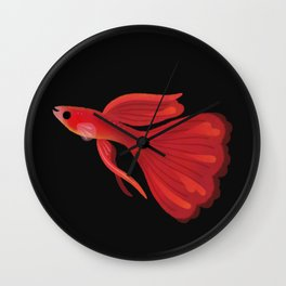 Red guppy Wall Clock