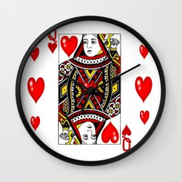 QUEEN  OF HEARTS SUIT CASINO PLAYING FACE CARD Wall Clock