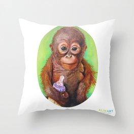 Budi the Rescued Baby Orangutan Throw Pillow