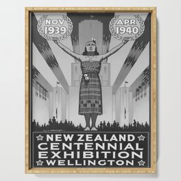 retro old 1939 New Zealand Centennial Exhibion poster Serving Tray