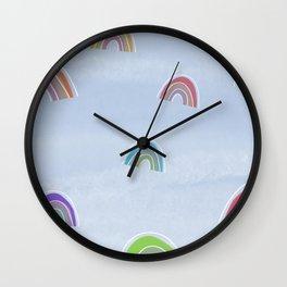 blue sky rainbows Wall Clock
