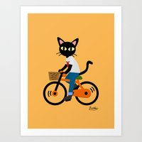 cycling Art Prints featuring Summer cycling by BATKEI