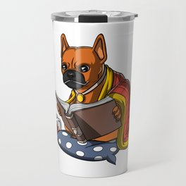 Cute French Bulldog Book Reading Dog Travel Mug